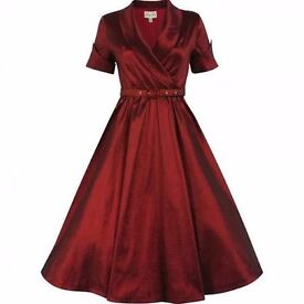 LINDY BOP DEEP RED VINTAGE STYLE DRESS SIZE 6 BRAND NEW WITH TAGS GREAT FOR PARTY BRIDESMAID