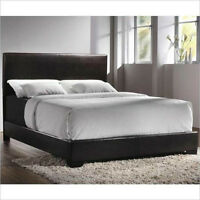 Espresso leather Platform bed frame (Queen size) for sale