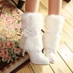 Winter boots with detachable fur and bow, NEW