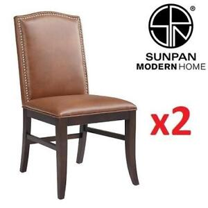2 NEW SUNPAN MAISON DINING CHAIRS 28609 153609326 BONDED LEATHER COGNAC HOME HOUSE FURNITURE DECOR