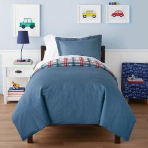 Mainstays Kids Denim Plaid Duvet Cover Set Twin & Fray Pan Set