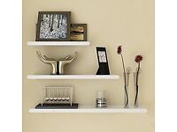 Simple White Floating Wall Shelves - Unopened