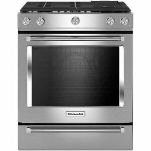 "KITCHENAID 30"" STAINLESS STEEL SLIDE-IN GAS RANGE - KSGB900ESS"