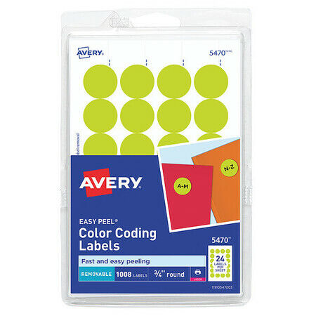AVERY 727825470 Avery® Neon Yellow Removable Print or Write Color Coding Labels