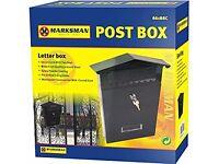 Bargain Clearance MARKSMAN SECURE PRESSED STEEL POST BOX - BLACK - Brand NEW - Smoke & Pet FREE Home