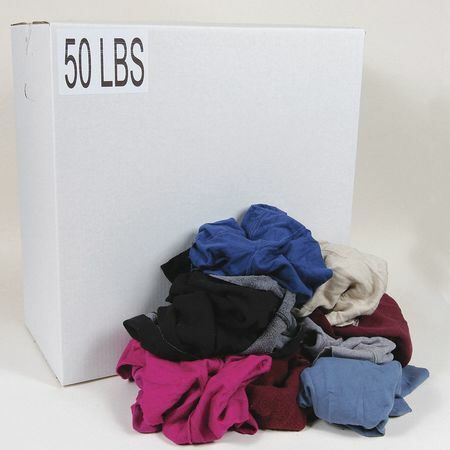 Zoro Select G325050pc Recycled Cotton Sweatshirt Cloth Rag 50 Lb. Varies Sizes,