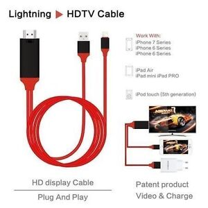 IPHONE LIGHTNING TO HDMI ADAPTER + CHARGER FOR HDTV, PROJECTOR