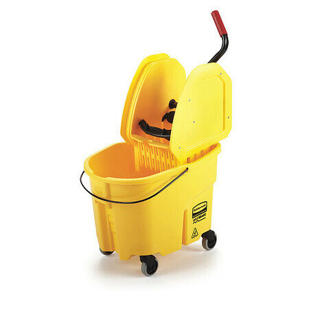 Rubbermaid Fg757788yel 35Qt. Yellow Down Press Mop Bucket And Wringer