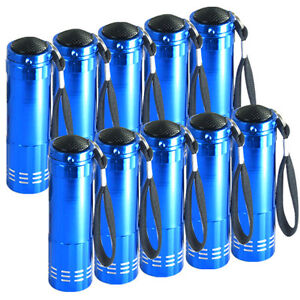 LOT OF 10 SUPERBRIGHT BLUE 9-LED TORCH FLASHLIGHT LAMP LIGHT