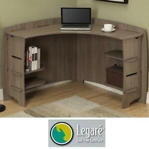 "NEW LEGARE FURNITURE CORNER DESK DRIFTWOOD - 47"" x 47"" TOOL FREE ASSEMBLY - DESKS OFFICE BEDROOM HOME DECOR WORK"