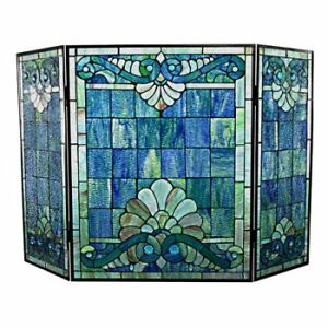 "TIFFANY STYLE STAINED GLASS 28"" FIREPLACE SCREEN - FJN"