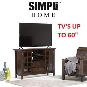 """NEW SIMPLI HOME ACADIAN TV STAND 3AXCACTTS 221203897 TALL MEDIA RICH TOBACCO BROWN TV'S UP TO 60"""" HOME DECOR FURNITURE"""