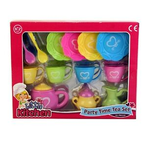 Kids Party Time Teaset Teapot Cups saucers Tea Set Childrens Toy New