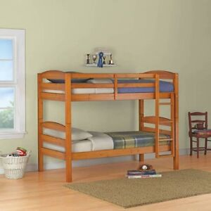 Solid Pine Bunk Beds with Two twin Mattress Excellent Condition