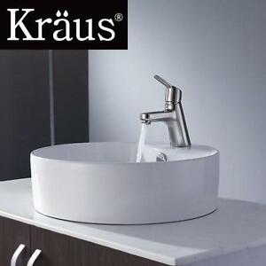 NEW KRAUS WHITE ROUND CERAMIC SINK - 110835231 - WITH FERUS BASIN FAUCET BRUSHED NICKEL - KITCHEN BATHROOM HOME VANITY