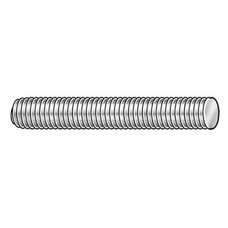 "Zoro Select S6.03801601.Pl.Dar Threaded Rod, 3/8""-16, Stainless Steel, Plain"