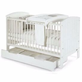 Mamas and papas white cot bed with mattress and changing table