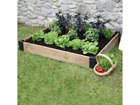 3 Wooden Raised Beds, never used. For Veg, Herbs and Flowers. Plus extras.