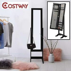 NEW* COSTWAY JEWELRY ARMOIRE HB84438BK 251122161 MIRRORED STAND 2 SHELVES FOR MAKE UP STORAGE BLACK FURNITURE