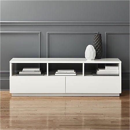 Tv Stand White Gloss Media Cabinet Cb2