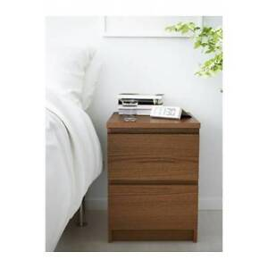 2-drawer chest, brown stained ash veneer ( Selling 2 of them)