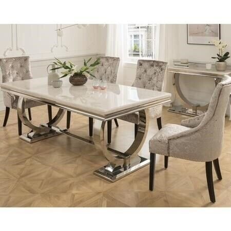 Pleasing Cream Grey Dining Table Marble Chrome With 6 Silver Or Black Knocker Back Chairs New In Northfleet Kent Gumtree Download Free Architecture Designs Embacsunscenecom