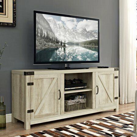 "58"" Barn Door TV Stand with Side Doors for TVs up to 65"", Mu"