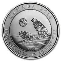 Pièce en argent/silver bullion Canadian howling Wolves 3/4 Oz