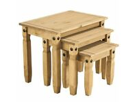 Corona Solid Pine Nest of 3 Tables
