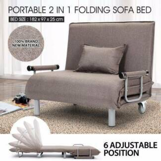 Portable Folding Rollaway Bed/Sofa with Mattress Taupe NEW