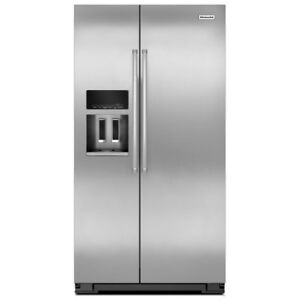 KITCHENAID 36 INCH STAINLESS STEEL SIDE BY SIDE REFRIGERATOR