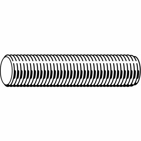 "Fabory U20200.125.1200 Threaded Rod, 1-1/4""-7, Steel, Plain Finish, 1 Ft Length"