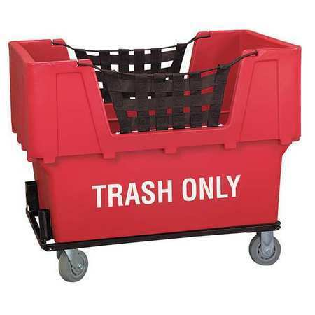 ZORO SELECT N1017261-RED-TRASH Material Handling Cart,Red,Trash Only