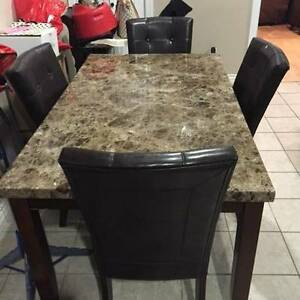 Faux Marble Dining Table with 4 Leather Chairs