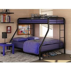 Black Metal Queen / Twin Bunk Bed with streamlined aesthetic