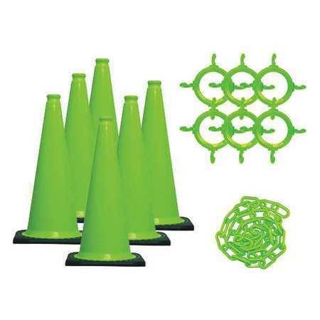 Mr. Chain 93214-6 Traffic Cone Kit, Uv Inhibited Polyethylene, Green