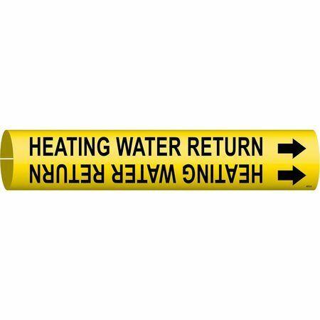 Brady 4072-D Pipe Marker,Heating Water Return,4To6 In
