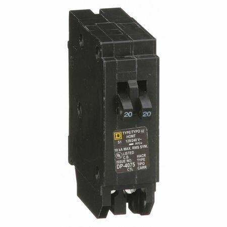 Squ E D Homt2020 20 A Plug In Tandem Miniature Circuit Breaker , 120/240V Ac