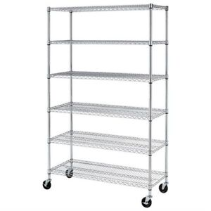 Wire shelves on casters