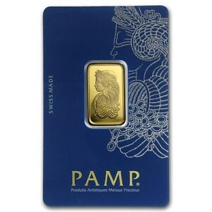 10 Grammes/Gr Lingotin Barre Or Gold PAMP Suisse Fortuna Bar