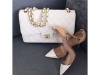 WHITE NEW CHANEL 2.55 QUILTED LEATHER DOUBLE FLAP DOUBLE WITH GOLD HARDWARE
