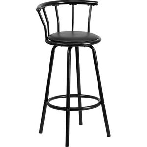 Brown Metal Bar Stool with Black