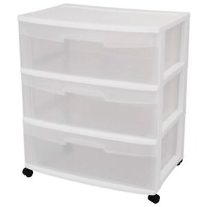 2-Storage Units - White -wide cabinets 3 drawers each