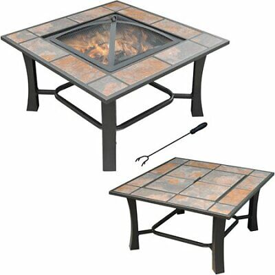 2-in-1 Square Ceramic Tile Top Fire Pit Coffee Table Outdoors Backyard Drinks