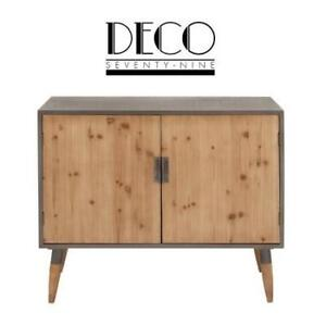 "NEW* DECO 79 WOOD CABINET 33x39"" 44378 200567929 RUSTIC MATTE GREY"