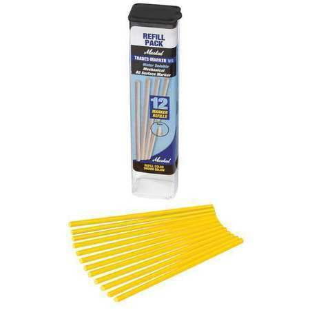 MARKAL 096181 Removable Industrial Marker, Medium Flat Tip, Yellow, 12PK