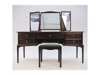 Stag Minstrel Kneehole Dressing Table 5 drawers 3 mirrors