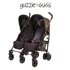 NEW GUZZIE+GUSS DOUBLE STROLLER GG125BLK 226125206 BLACK COMPACT FOLD