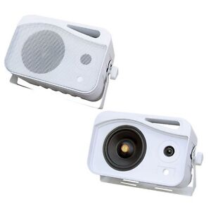 BRAND NEW PYLE 300-WATT 4IN 3-WAY INDOOR/OUTDOOR WATERPROOF SPEAKER SYSTEM (WHIT
