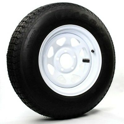 Two Trailer Tires  Rims ST20575D15 F78 15 20575 15 15 LRC 5 Lug White Spoke